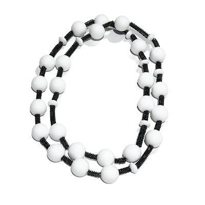 White Rubber Bead Piano Wire Necklace