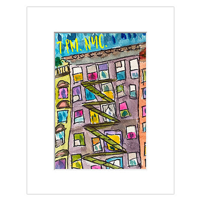 7PM NYC Gratitude Matted Print