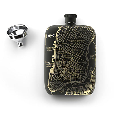 NYC Home Town Map Pocket Flask