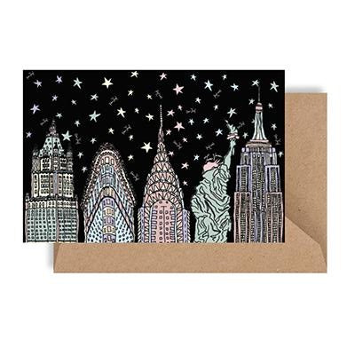 NYC 19 Night Skyline Notecard