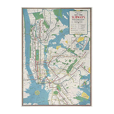 NYC Subway Map Gift Wrap Paper Single Sheet