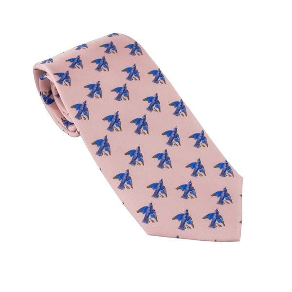 Audubon Eastern Bluebird Tie - Pink - New-York Historical Society Museum Store