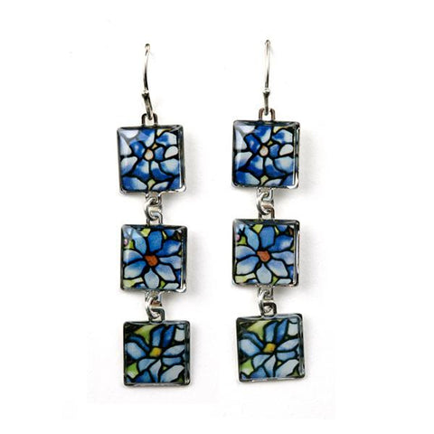 Louis C. Tiffany Clematis 3 Drop Earrings