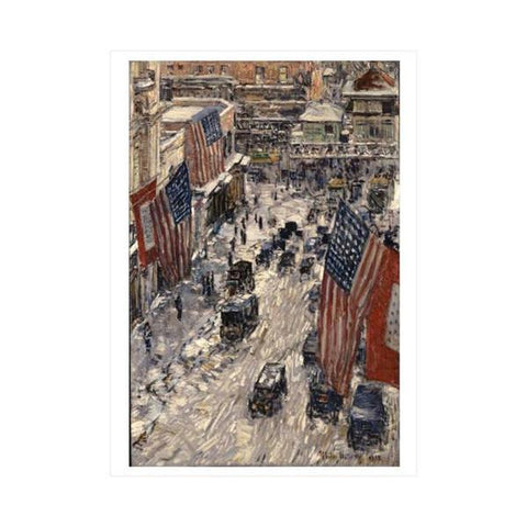 Flags on 57th Street Winter Postcard