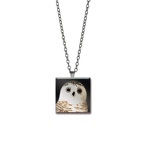 Glass Snowy Owl Pendant Side