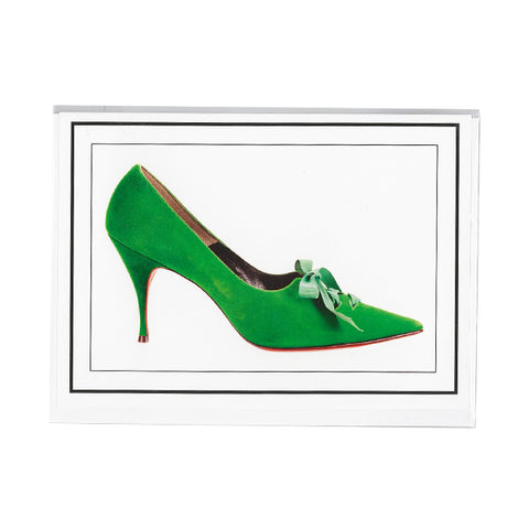 Pointed-toe laced pumps notecard