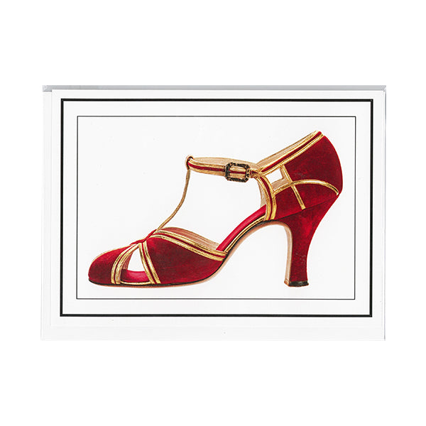 T-strap pumps notecard