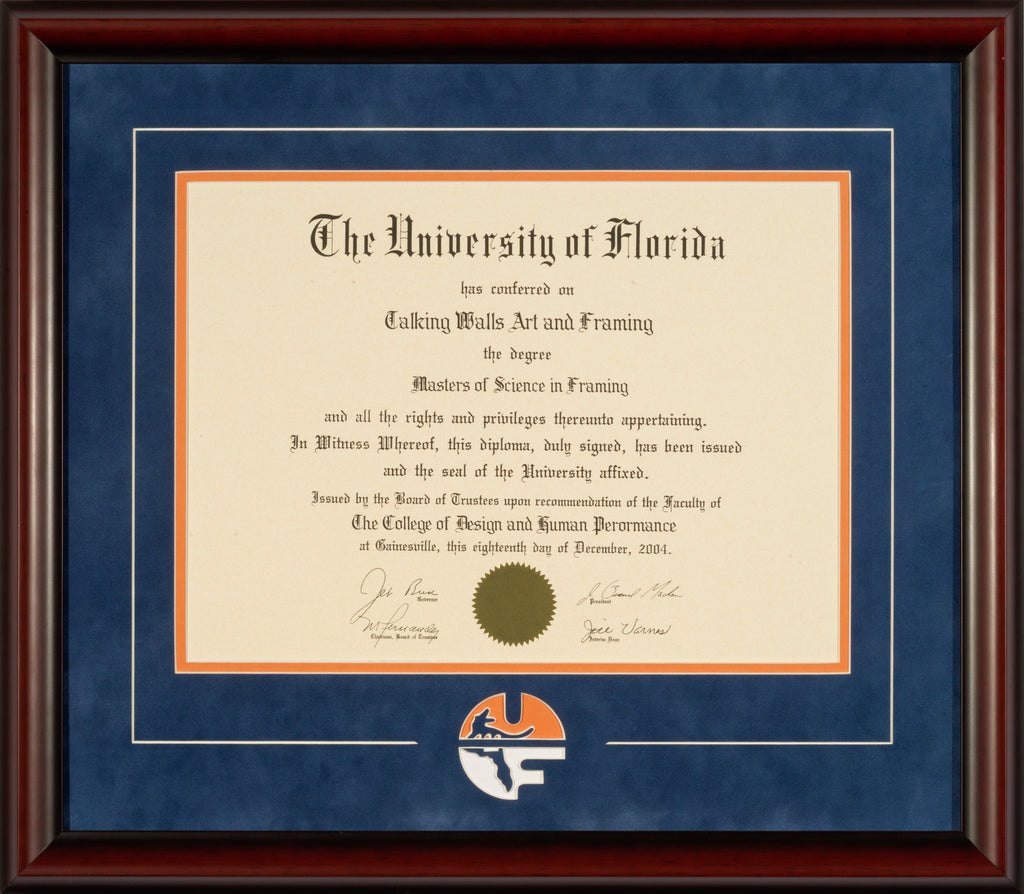 Mahogany Frame with Blue Suede Mat and UF Logo