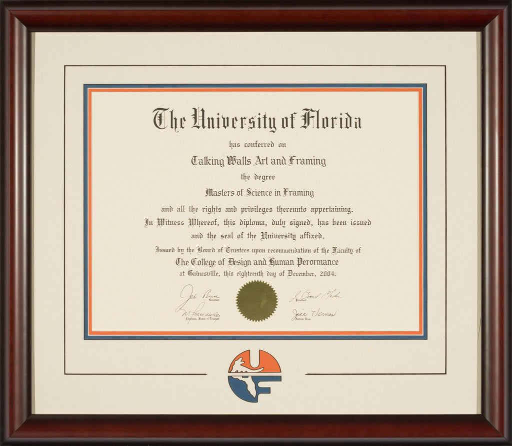 Mahogany Frame with White Mat and UF Logo