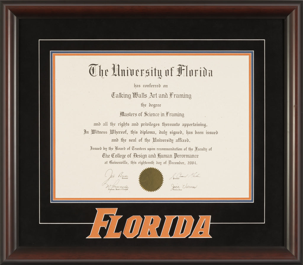"Mahogany Frame with ""Florida"" 3D logo"