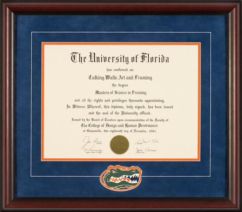 Mahogany Frame with Blue Suede Mat and Gator Head Logo