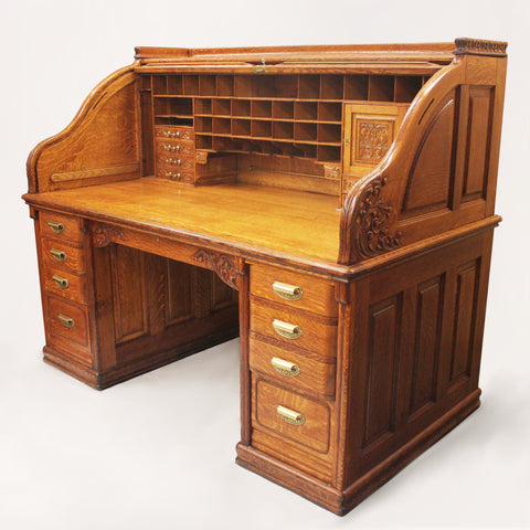 Spectacular 19th Century Oak Roll Top Desk by A. Petersen & Co. of Chicago