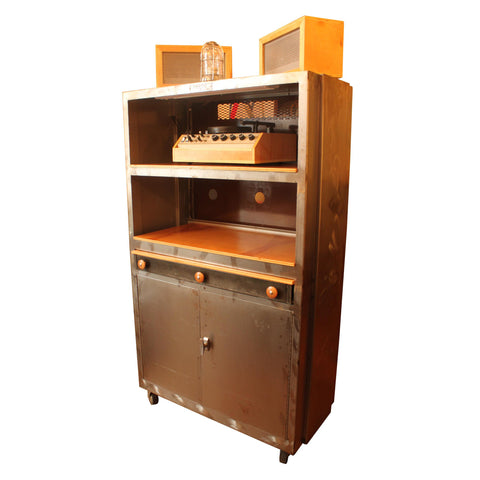 Vintage Machine Shop Industrial Bar/Audio Liquor Cabinet