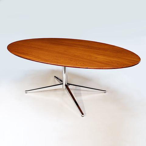 1960s Mid-Century Modern Oval Oak Dining Conference Table Desk by Florence Knoll