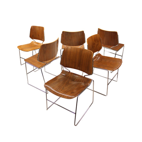 RARE Set of 6 Vintage Walnut Krueger Matrix Stacking Chairs