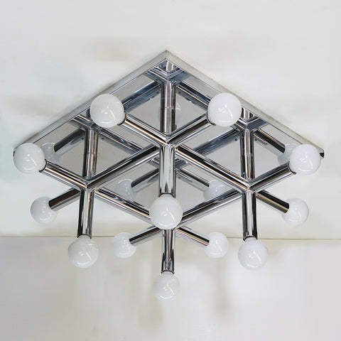 Mid-Century Modern Chrome Tic Tac Toe Chandelier Light Fxture by Lightolier