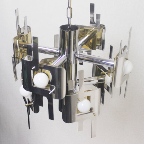 Vintage 1970s Mid-Century Modern Brass and Chrome Chandelier by Gaetano Sciolari