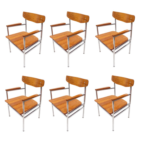 Rare Set of Six 1960s Mid-Century Modern Cherry and Chrome Dining Chairs
