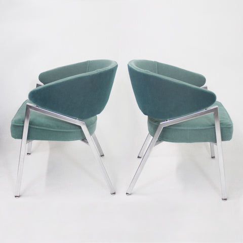 Rare Pair of 1970s Mid-Century Modern Teal Green and Chrome Side Arm Chairs