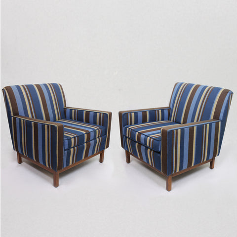 Spectacular Pair of Mid-Century Modern Blue Striped Lounge Chairs by Gunlocke