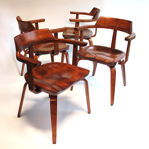Rare set of Four Mid-Century Modern W199 Chairs by Walter Gropius for Thonet Bauhaus
