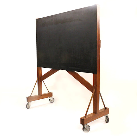 Vintage 1940s Industrial Oak Magnetic Blackboard Chalkboard Idea Board on Wheels