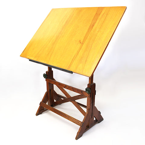 Vintage 1940s Oak & Iron Drafting Table by the F. Weber Co. of Philadelphia