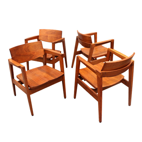 Set of Four Mid-Century Walnut Modern Armchairs by Gunlocke