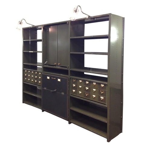 Vintage Industrial 1940's Machine Shop Back Bar Bookshelf Wall Unit Cabinet *9 Feet Long!*