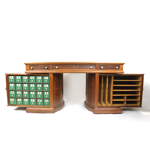 Rare 1888 Queen Anne No. 8 Walnut Rotary Desk by the Wooton Desk Mfg. Co.