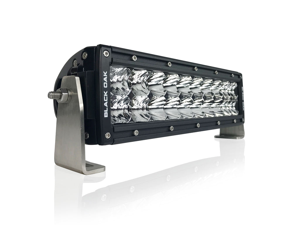 New - 10 Inch Curved Double Row: Black Oak LED Pro Series 2.0 Dual Row LED Light Bar - Combo, Flood, or Spot Optics (60w/100w)