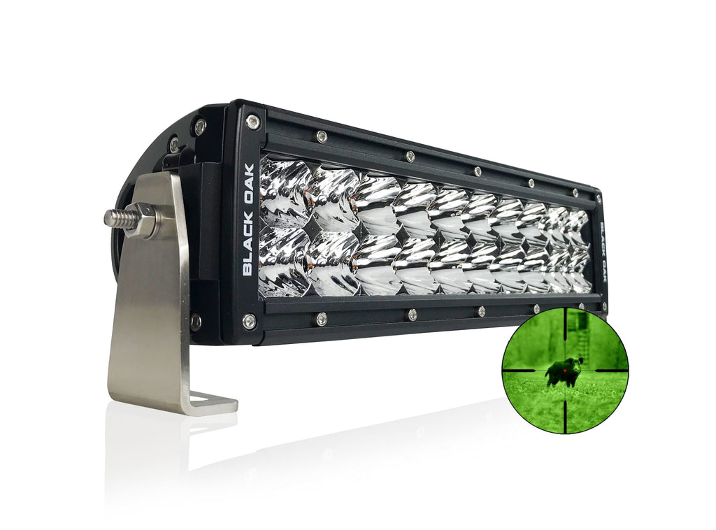 New - 10 Inch 850nm Infrared IR LED Double Row Light Bar - Black Oak LED Pro Series 2.0