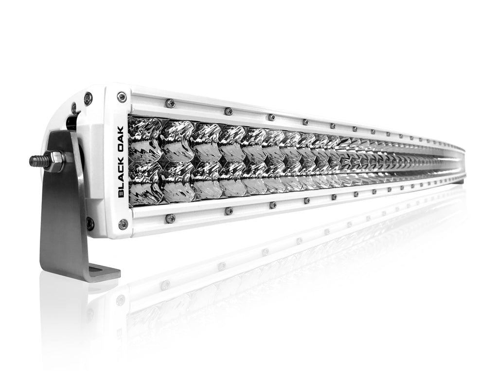 New - 50 Inch Marine Curved: Black Oak LED Pro Series 2.0 Double Row LED Light Bar - Combo, Flood, or Spot Optics (300w/500w)