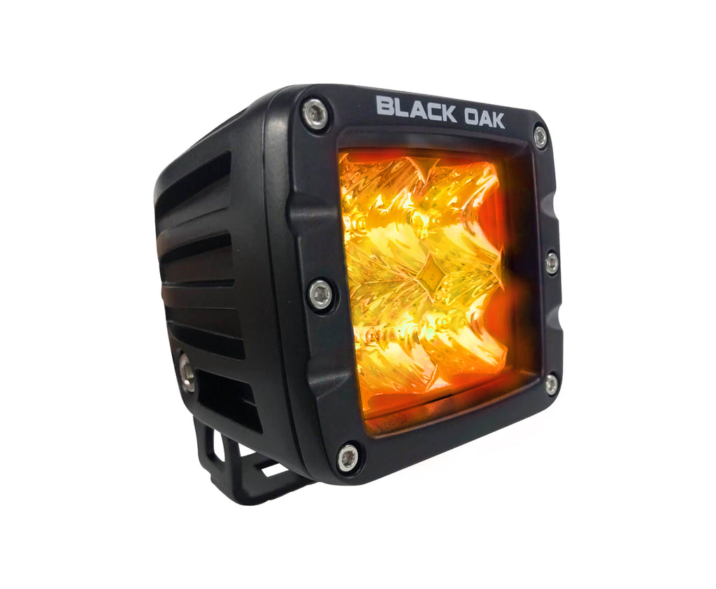 New - 2 Inch Amber LED POD Light: 3w Osram - Flood - Black Oak LED Pro Series 2.0