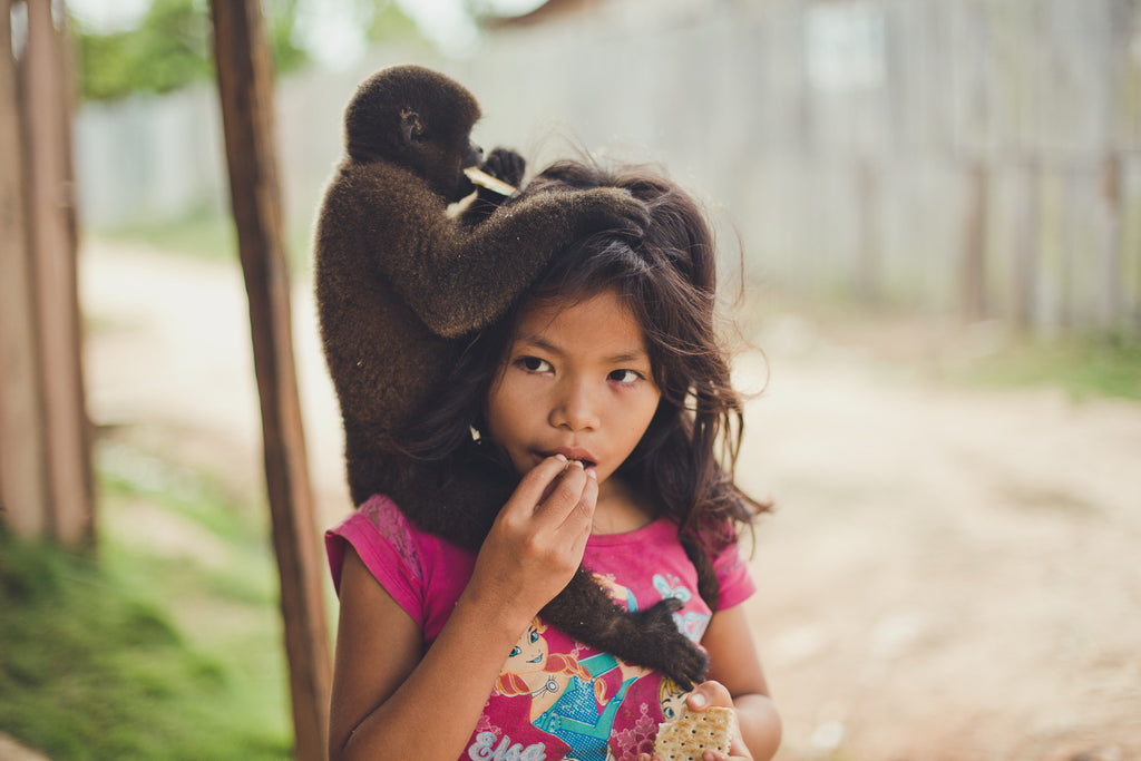 Shipibo Girl with Monkey