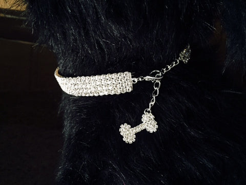 Necklace with 3 rows of Sparkling Crystals with a Crystal Bone