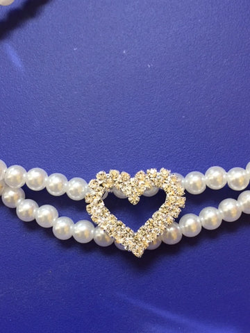 Double Pearl Necklace Collar With Large Rhinestone Heart Charm