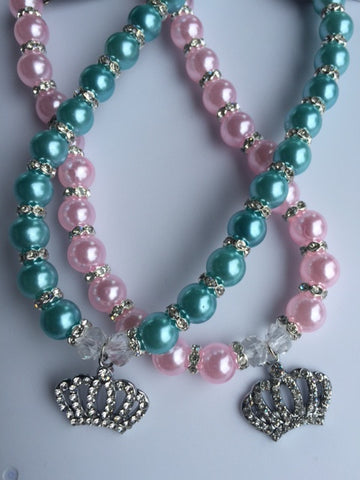 Pearl Necklace Collar With Rhinestone Crown Charm