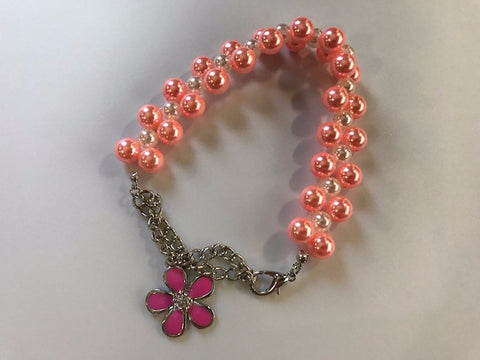 Pearl Necklace Collar With Dangling Pink Flower Charm