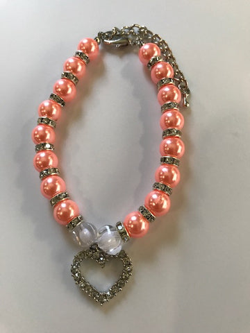 Pearl Necklace Collar With Rhinestone Heart Charm