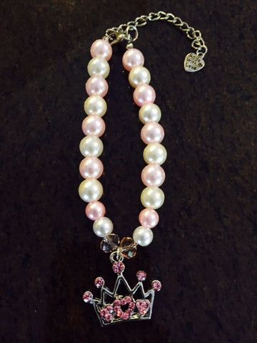 Pearl Necklace Collar With Pink Rhinestone Crown Charm