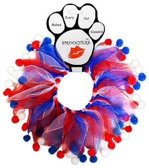 Red, White and Blue Fuzzy Smoochers Party Collar