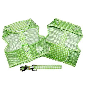 Gingham and Bows Cool Mesh Dog Harness - Green