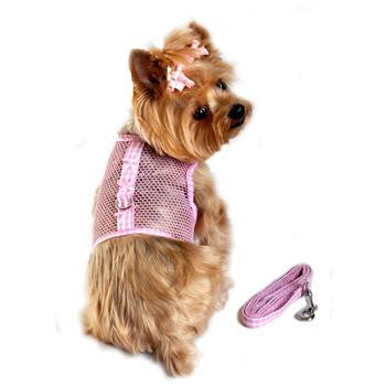 Gingham and Bows Cool Mesh Dog Harness - Pink