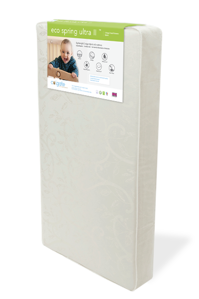 Standing Angled Image of Colgate EcoSpring Ultra II Crib Mattress