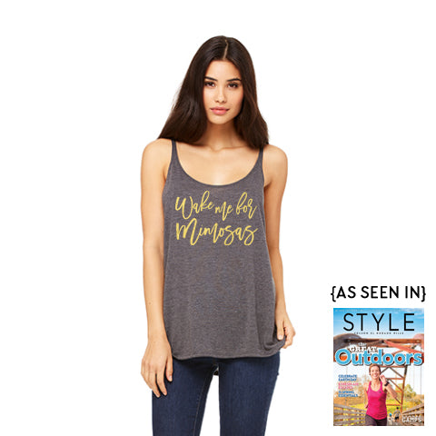 """Wake Me For Mimosas"" Slouchy Tank"