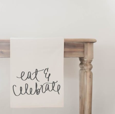 """Eat & Celebrate"" Table Runner"