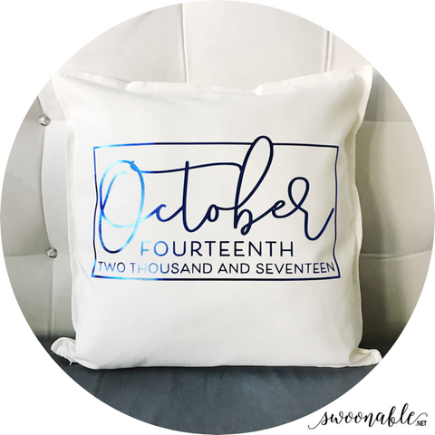 "Wedding Date Custom 20"" x 20"" Pillow Cover"