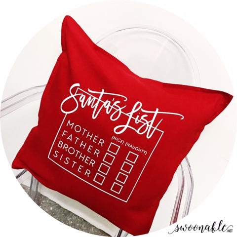 """Naughty or Nice?"" Santa's List Custom 20"" x 20"" Pillow Cover"
