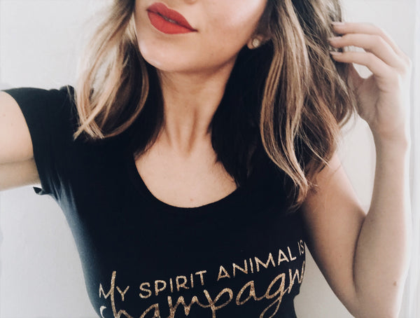 """My Spirit Animal is Champagne"" Glitter Women's Tee"